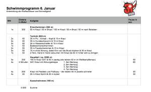 Schwimmprogramm 6.Januar